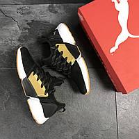 Puma мужские кроссовки черные с желтым замшевые (Реплика ААА+), фото 1