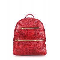 Рюкзак-сумка кожаный женский POOLPARTY mini bckpck leather croco красный