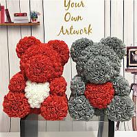 ОПТ от 1000 грн. Мишка из 3D Роз цветов с сердцем 40 см медведь тедди oh my teddy OPT