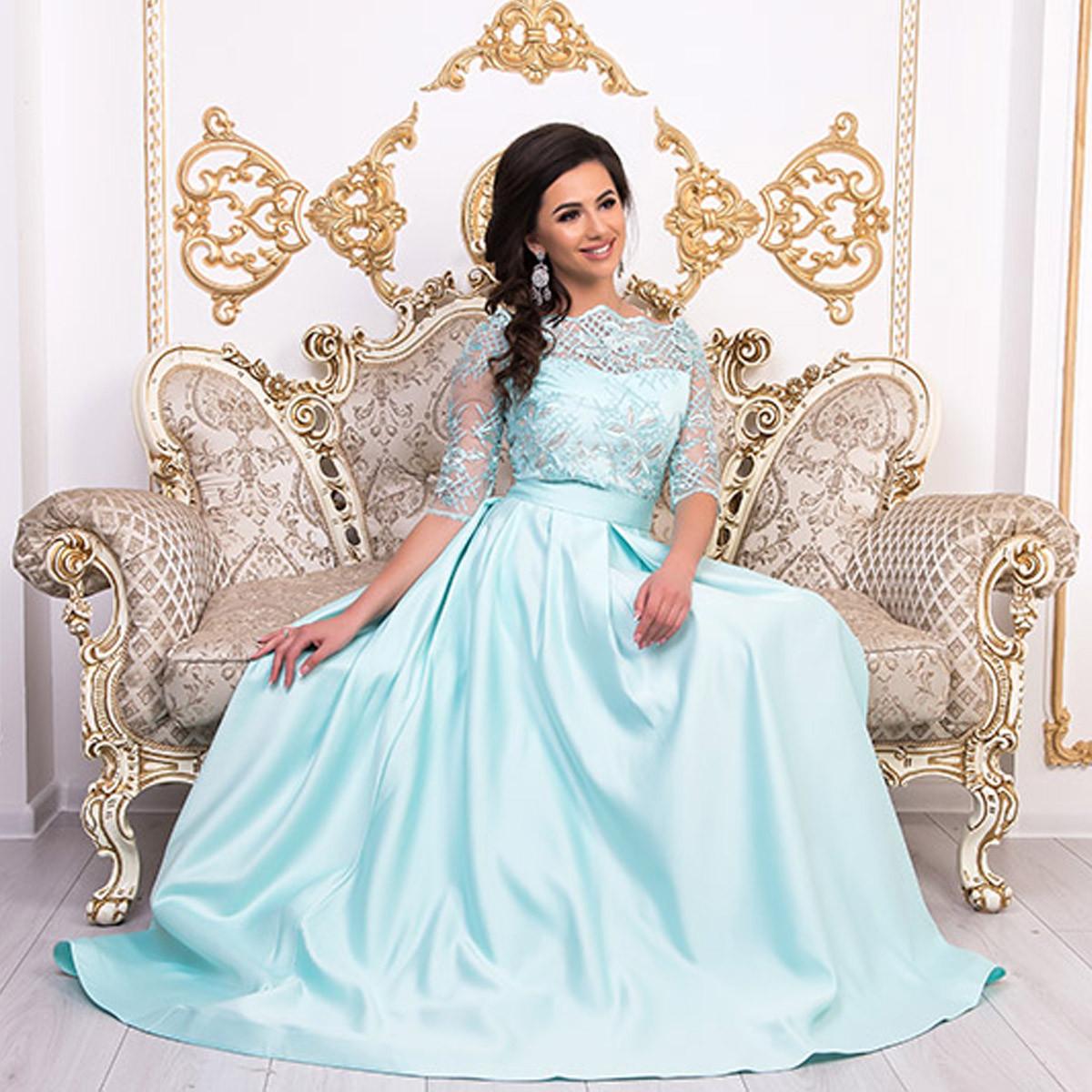 """Вечернее платье длинное мятное со шлейфом размер М """"Аркадия"""""""