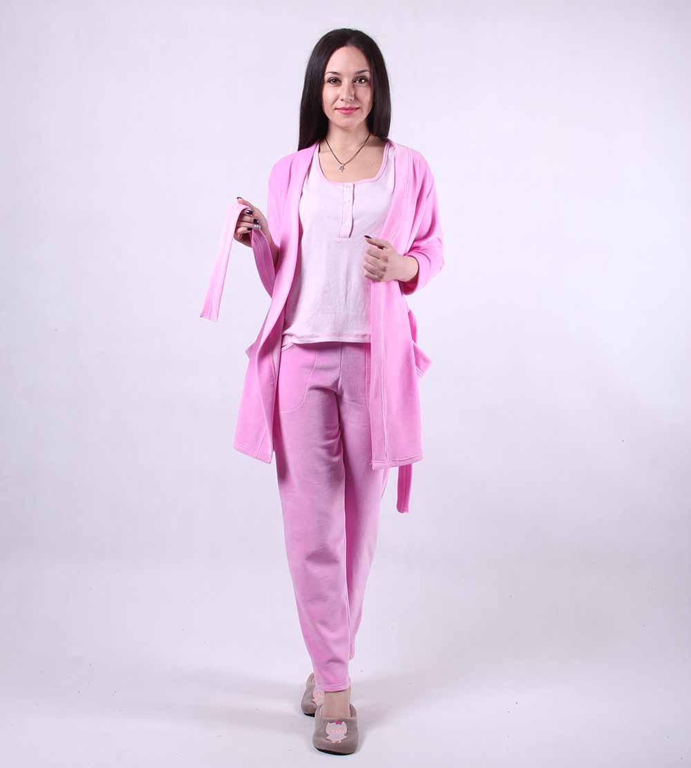 "Велюровый халат с пижамой ""Амарант"" р.42-54"