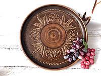 Керамическое блюдо из глины 37 см, фото 1