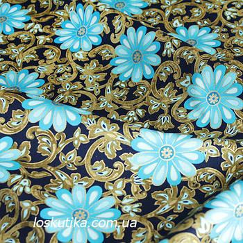 36011 Каменный цветок. Ткань с золотом. Американские ткани с цветочным принтом. Квилтинговые ткани.