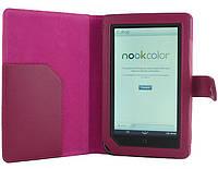 Ярко-розовый чехол из синтетической кожи на Nook Color.