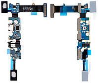 Шлейф для Samsung N920V Galaxy Note 5, с разъемом зарядки, с разъемом наушников, с кнопкой меню (Home), с микрофоном