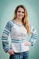 Женская вышиванка с синим орнаментом | Жіноча вишиванка із синім орнаментом, фото 1