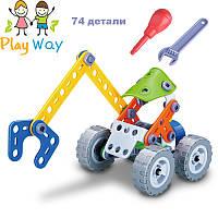 Экскаватор Развивающий детский болтовой конструктор Build and Play для мальчика 74 детали