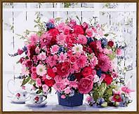 Картина по цифрам Babylon Розовые хризантемы (в раме) (NB1233R) 40 х 50 см