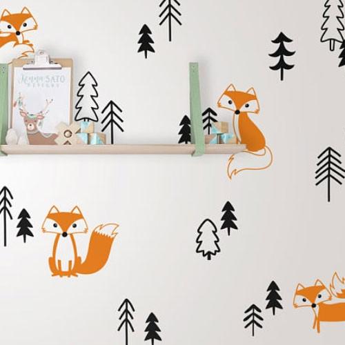 Набор виниловых наклеек Лисицы (наклейки животные лес елки звери, интерьерные стикеры на стены и обои)
