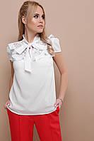 0b44600ce12 Нарядная белая шифоновая блузка с кружевом и бантом на шее