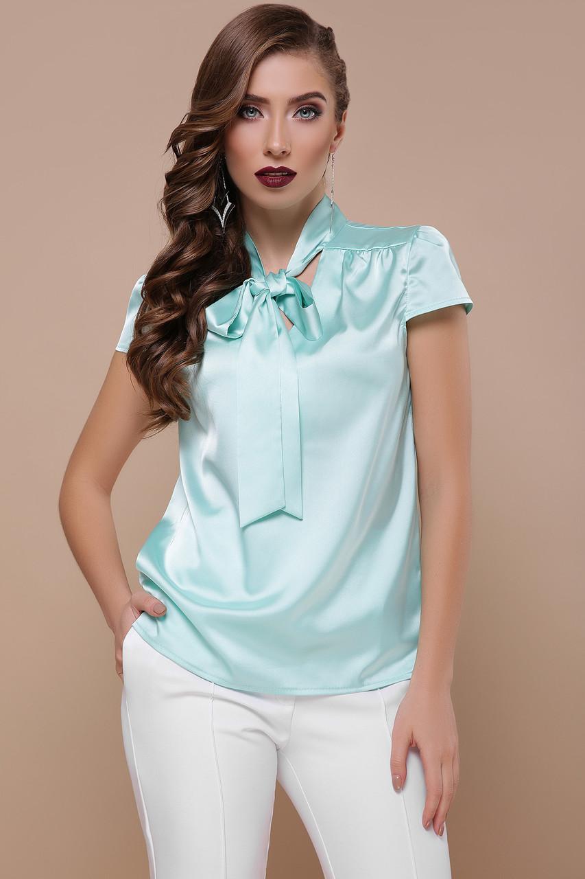 6639860d4cd Нарядная однотонная шелковая блузка с коротким рукавом и завязкой-бантом на  шее Филипа к