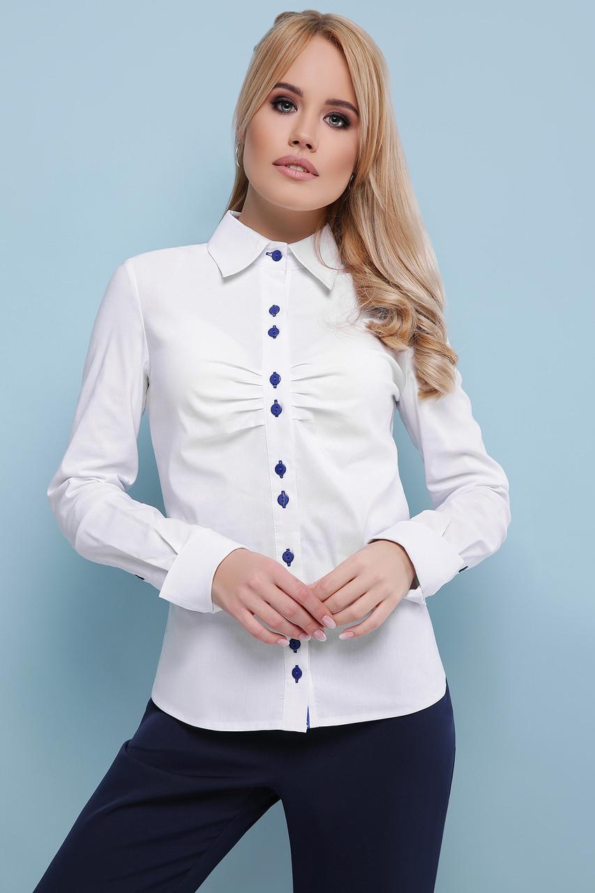 386d6a27f8c Красивая деловая приталенная белая блузка с драпировкой