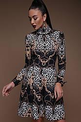 Модное платье с воротником под горло и юбкой со складками до колен принт Леопард-цепи Эльнара д/р