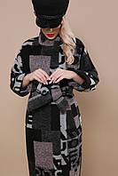 Стильное женское демисезонное шерстяное пальто по колено без капюшона П-342 принт абстракция 1721