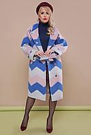 Модное женское демисезонное шерстяное пальто до колен без капюшона П-342 с  принтом зигзаг 1724