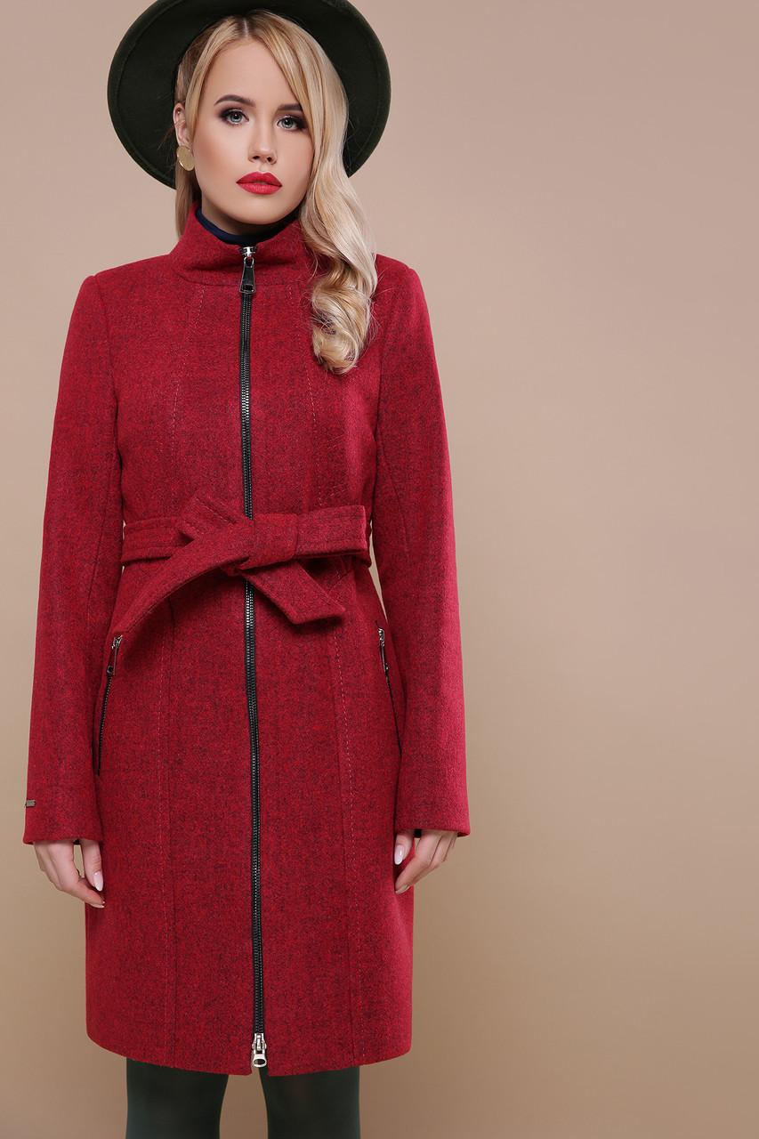 5375e155137 Приталенное женское демисезонное шерстяное пальто по колено на молнии  воротник-стойка П-343 бордовое