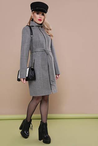 ee8bac30021 Классическое женское демисезонное пальто приталенное средней длины на  змейке воротник-стойка П-343 темно