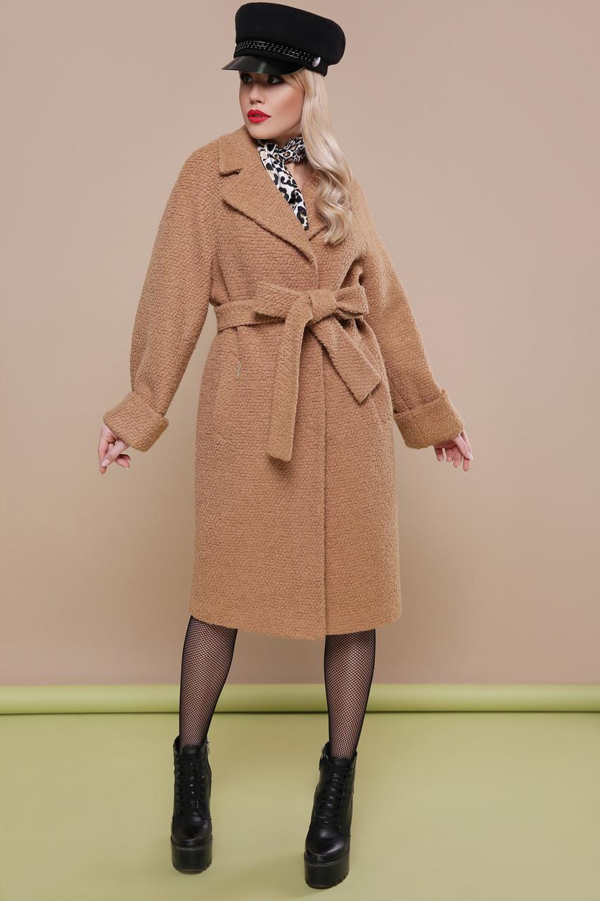 a4bf26e5b48 Стильное женское демисезонное пальто букле прямого кроя длинное без  капюшона П-303-100
