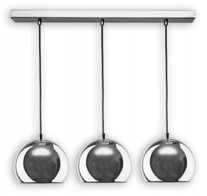 Підвісна світлодіодна лампа-люстра у формі металевих куль в хромі, тип 2