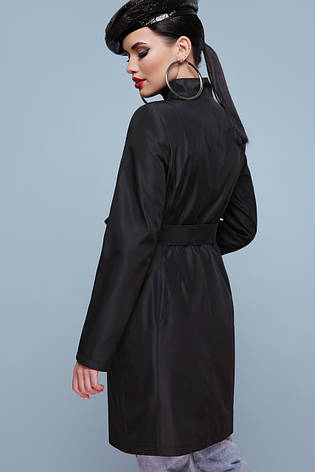 Легкий женский демисезонный плащ выше колен с воротником-стойкой и поясом Плащ 207, цвет 101 черный, фото 2