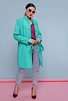 Легкий женский демисезонный плащ выше колен с воротником-стойкой и поясом Плащ 207, цвет 104 бирюза