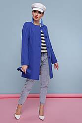Модный женский демисезонный плащ без воротника приталенный средней длины Плащ 337 цвет 109 электрик