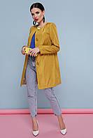 Модный женский демисезонный короткий плащ без воротника с поясом Плащ 337 цвет желтый горох