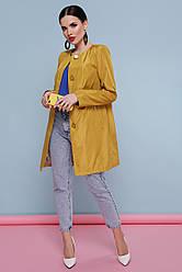 Модний жіночий короткий плащ демісезонний без коміра з поясом Плащ 337 колір жовтий горох