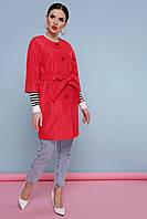 Легкий женский короткий демисезонный плащ без воротника рукав реглан 3/4 Плащ 355 цвет красный