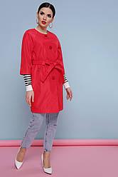 Легкий жіночий короткий демісезонний плащ без коміра рукав реглан 3/4 Плащ 355 колір червоний