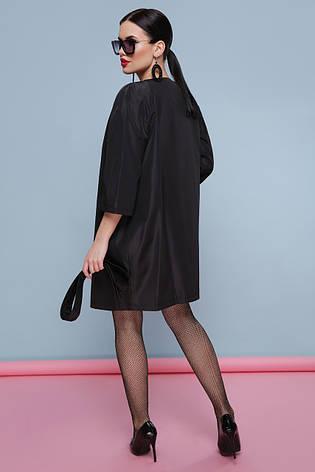 Элегантный женский демисезонный короткий плащ без воротника с рукавом три четверти Плащ 355 черный, фото 2