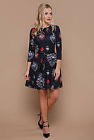 Нарядное короткое черное платье с юбкой полусолнце в принт Подвески сердце Глория К д/р