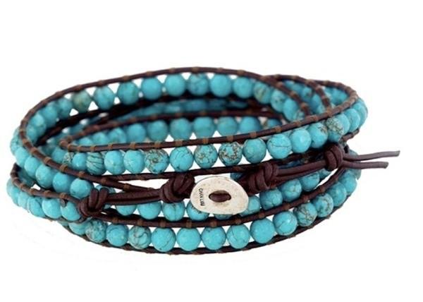 Женский кожаный браслет из бирюзы в несколько оборотов