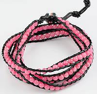 Женский кожаный браслет из натуральных камней