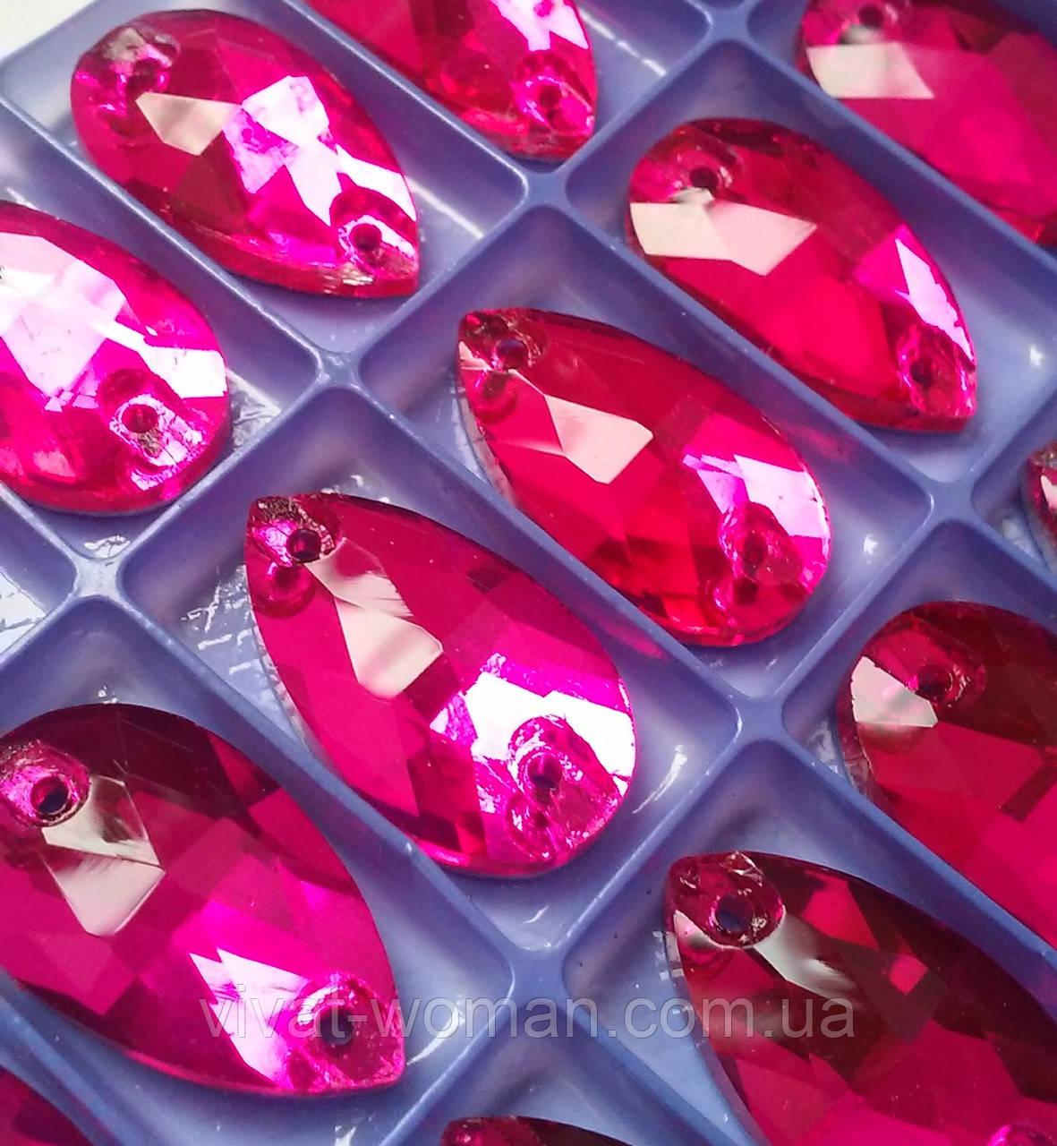 Стразы пришивные Капля 7х12 мм Fuchsia (малиновый), стекло
