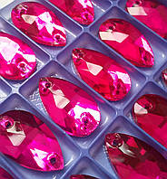 Стразы пришивные Капля 7х12 мм Fuchsia (малиновый), стекло, фото 1