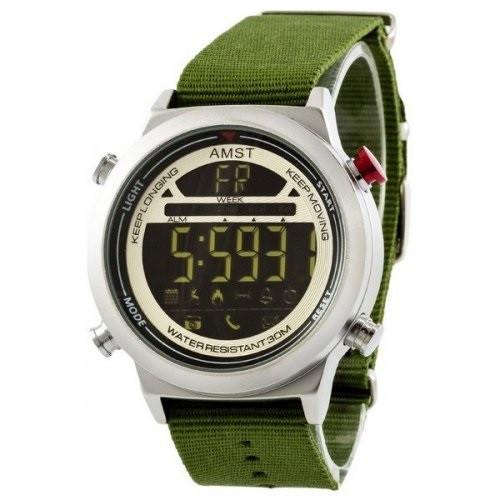 Чоловічий наручний годинник AMST 3017 із зеленим ремінцем Срібно-Білий (SUN3354)
