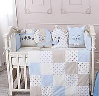 """Комплект в кроватку из серии """"Чудики"""" стандартной кроватки (голубой) без балдахина, фото 1"""