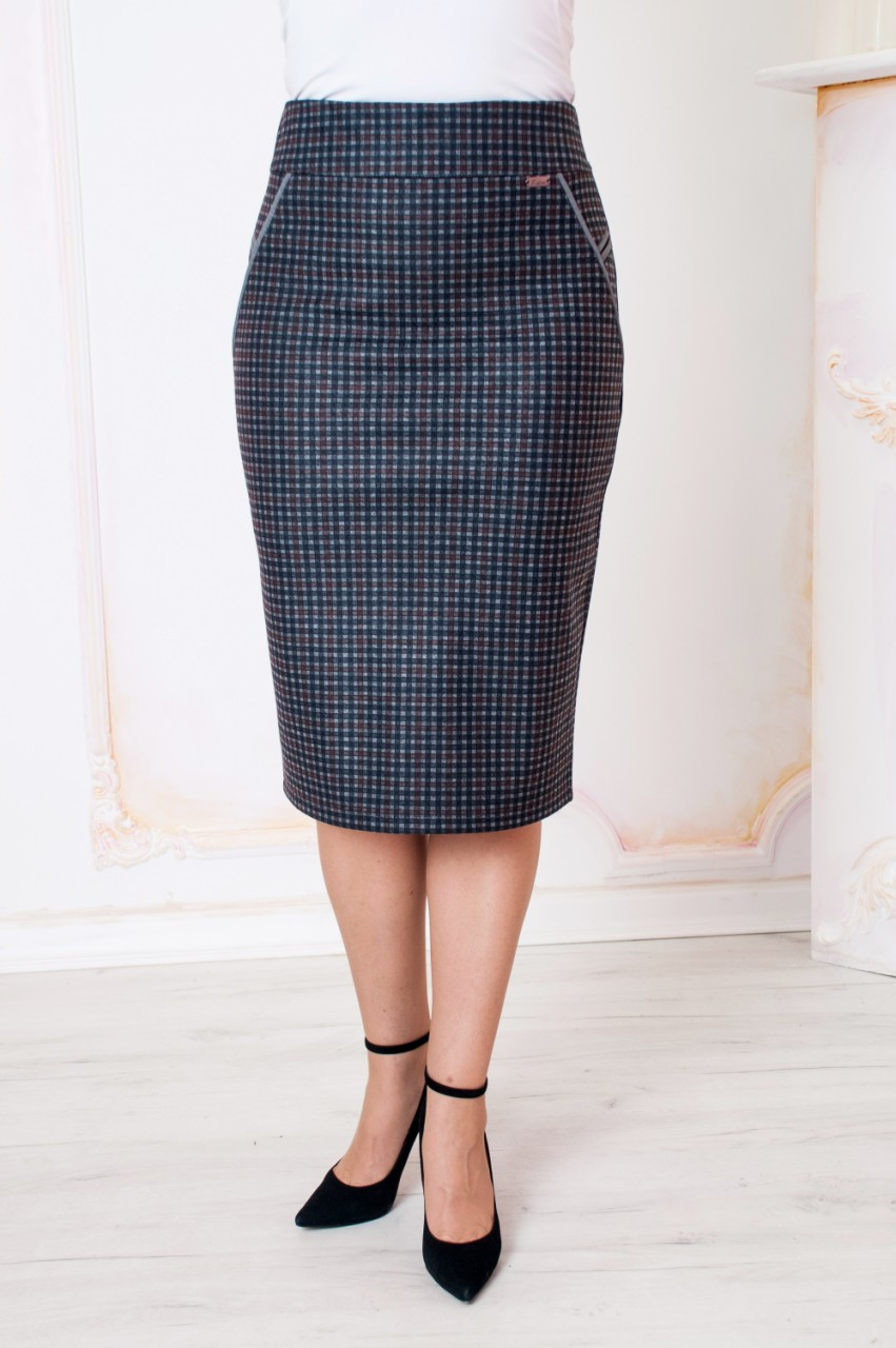 f0df66c7188d Купить Женскую трикотажную юбку в клетку Фиби оптом и в розницу в ...