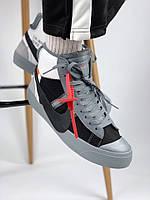 Мужские кеды Nike Blazer Mid x Off White. Grey. Замш. Кожа, фото 1