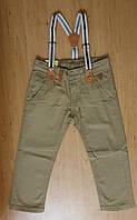 Котоновые брюки для мальчика с подтяжками, р.110-116