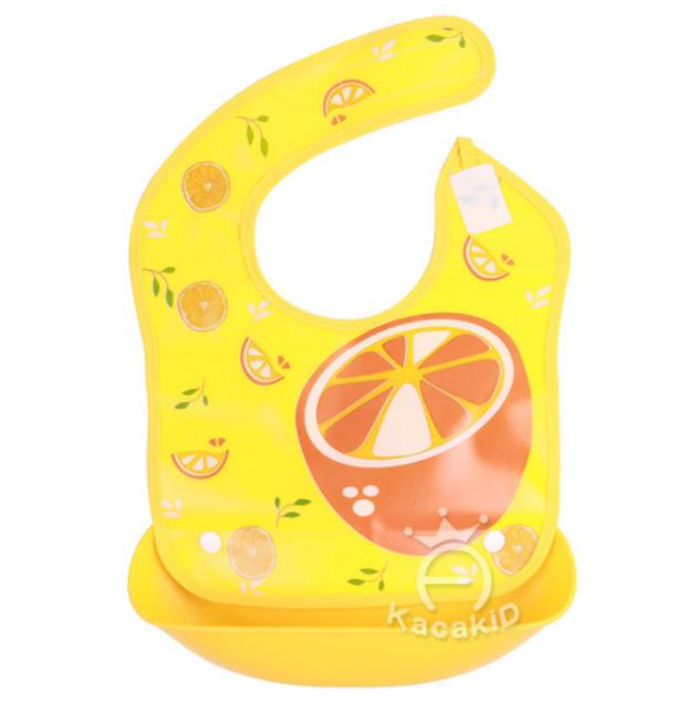 Нагрудник с жестким  пластиковым ковшом для крошек и жидкости Апельсин желтый (02495)