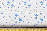 "Лоскут ткани № 1455 ""Мини галактика"" тёмно-голубая на белом фоне , фото 4"