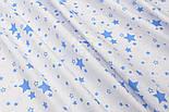 "Лоскут ткани № 1455 ""Мини галактика"" тёмно-голубая на белом фоне , фото 7"