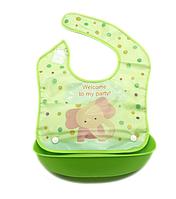 Нагрудник с жестким  пластиковым ковшом для крошек и жидкости Салатовый слон (02497), фото 1
