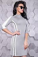 Женское повседневное платье, размеры от 42 до 48, серое, молодёжное, спортивное, весеннее,осеннее
