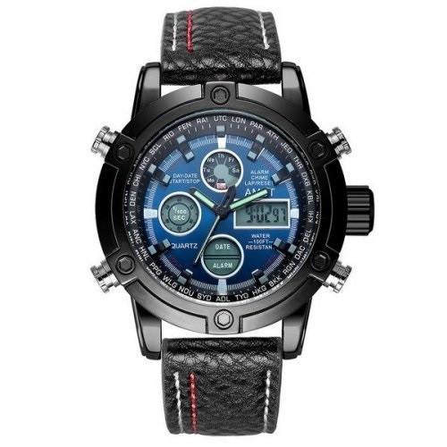 Чоловічий наручний годинник AMST 3022 з рифленим ремінцем Чорно-Синій (SUN3357)