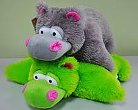 """Мягкая игрушка-подушка . """"Бегемот""""  зеленый 52 х 47"""
