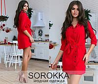 Платье рубашка на пуговицах с поясом, фото 1