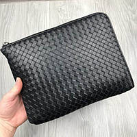 Кожаное портмоне Bottega Veneta черное клатч на молнии кожа женский мужской кошелек Боттега реплика, фото 1
